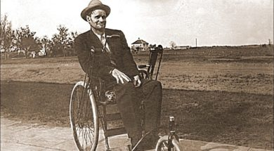 Vintage photo of man in wheelchair