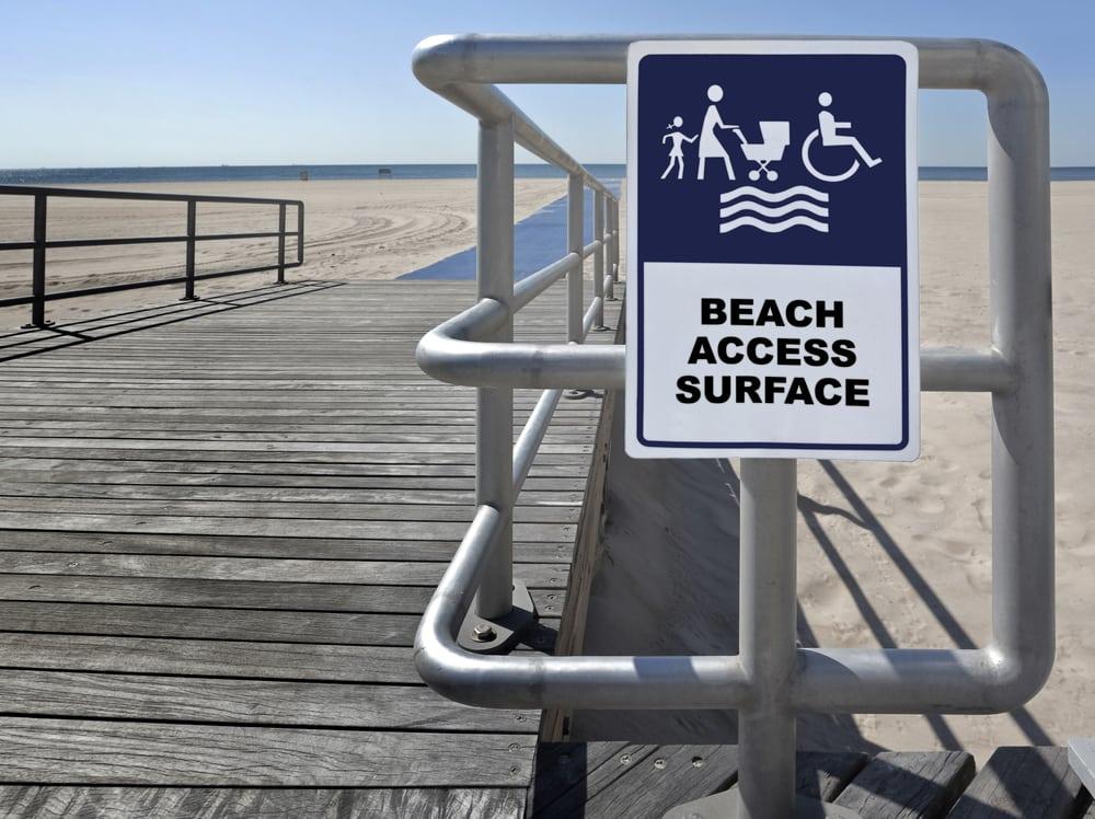 Wheelchair access sign at the beach
